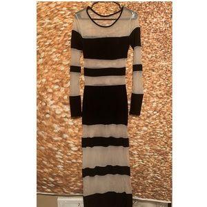 Black & Nude Mesh Striped Dress